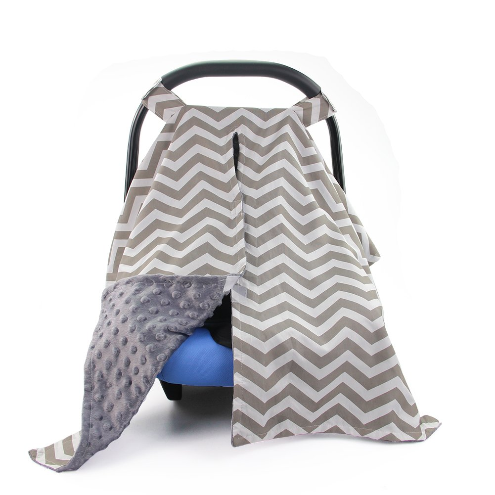 Play Tailor Baby Car Seat Cover and Nursing Cover 2 in 1, Breathable Cotton Surface with Soft Velvet Lining (Horizontal Grey Chevron) HG-B04101@#JCS