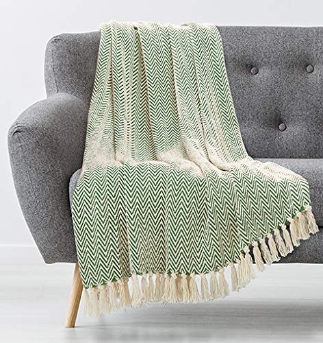 Americanflat Zaina Sage and Beige Herringbone Cotton Blanket Throw with Fringe - 50x60 Inches