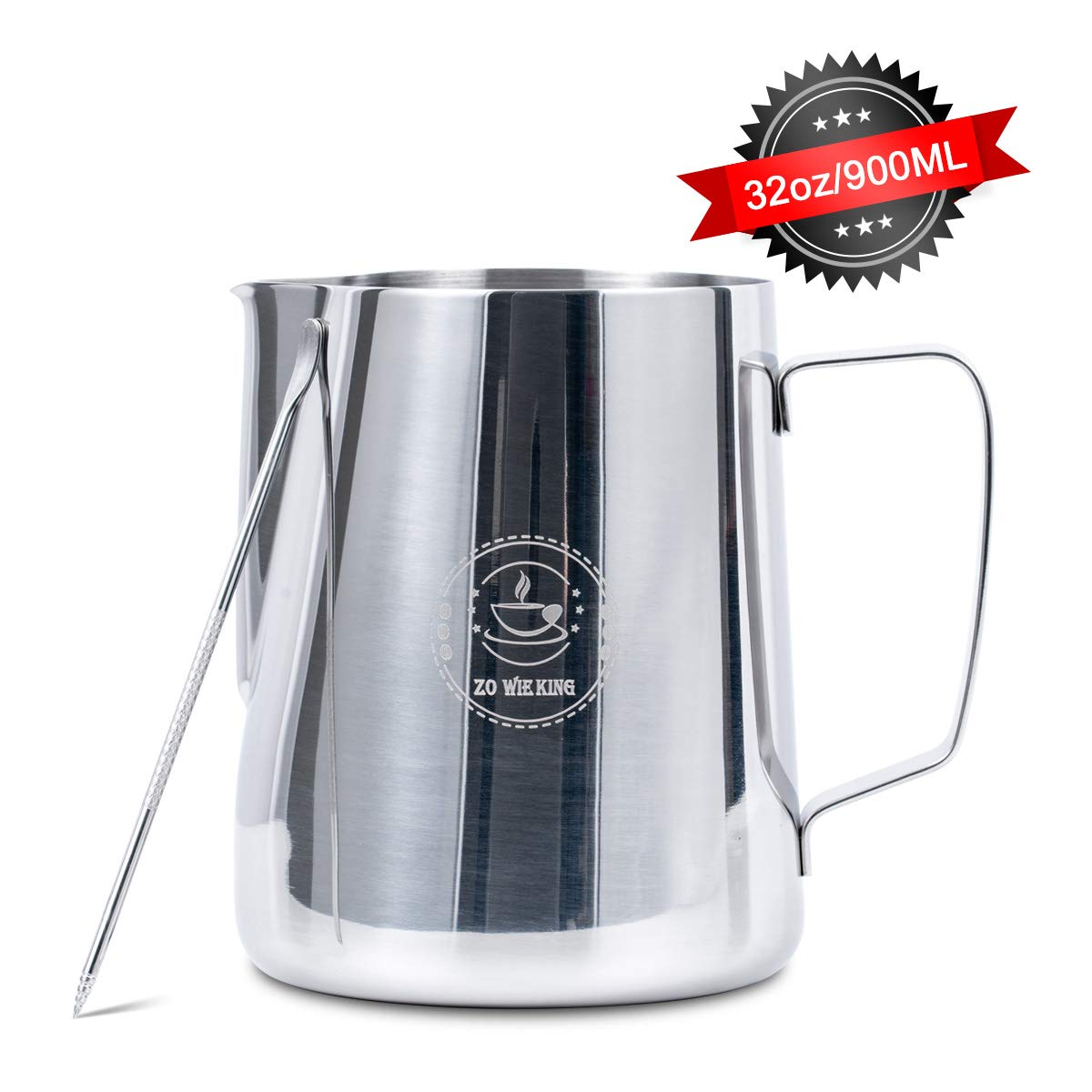 32oz 900ml Stainless Steel Milk Frothing Pitcher with Latte Art Pen, Coffee Pitcher for Espresso Machines Latte Art by ZOWIE KING