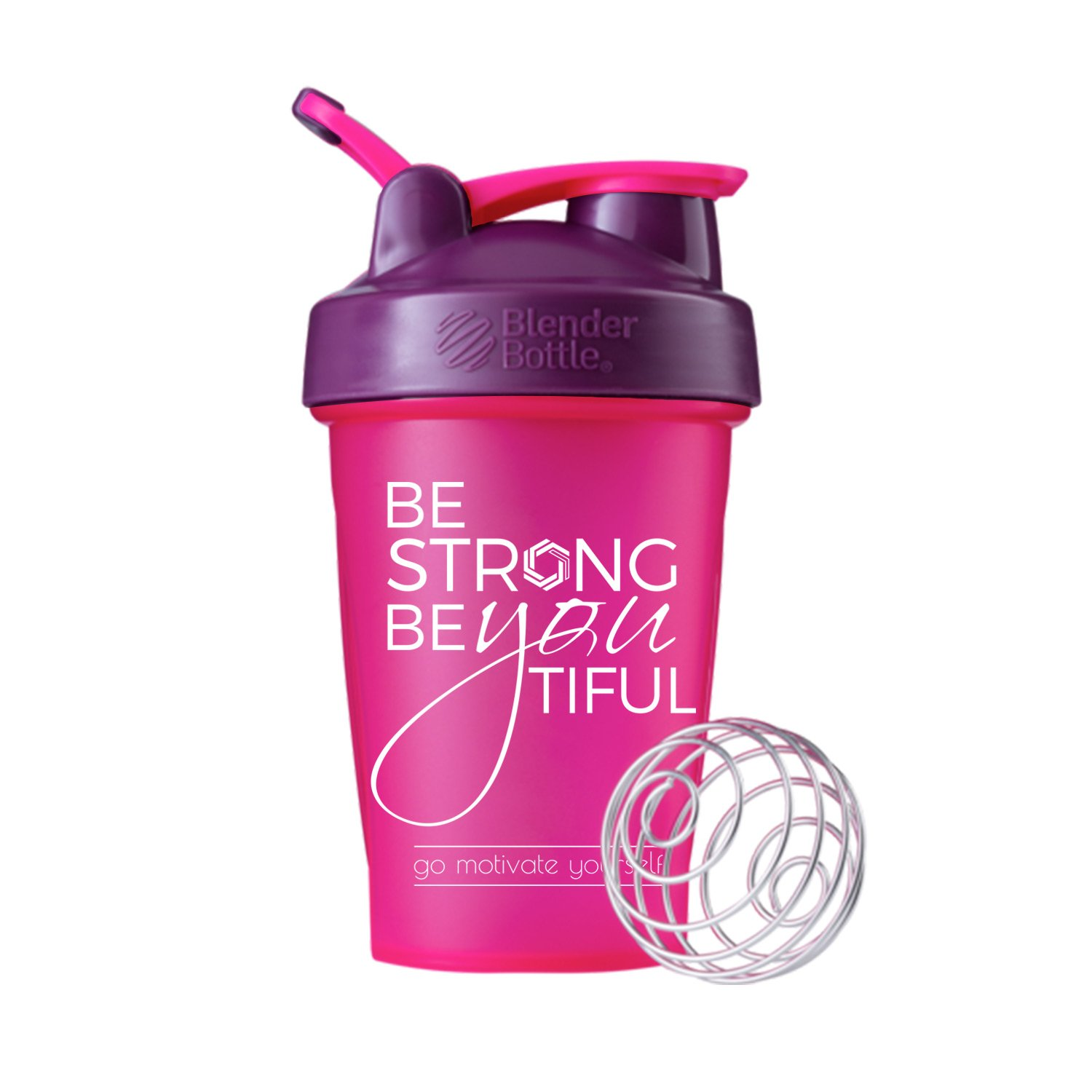 Be Strong BeYOUtiful on BlenderBottle brand Classic shaker cup, 20oz Capacity, Includes BlenderBall whisk (Pink/Plum - 20oz)