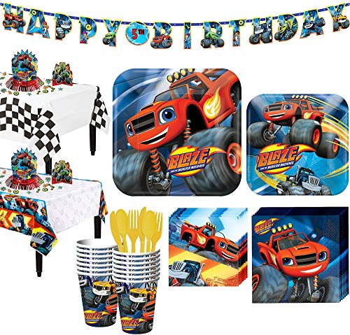 Party City Blaze and the Monster Machines Tableware Party Supplies for 16 Guests, Include a Banner and Decorations