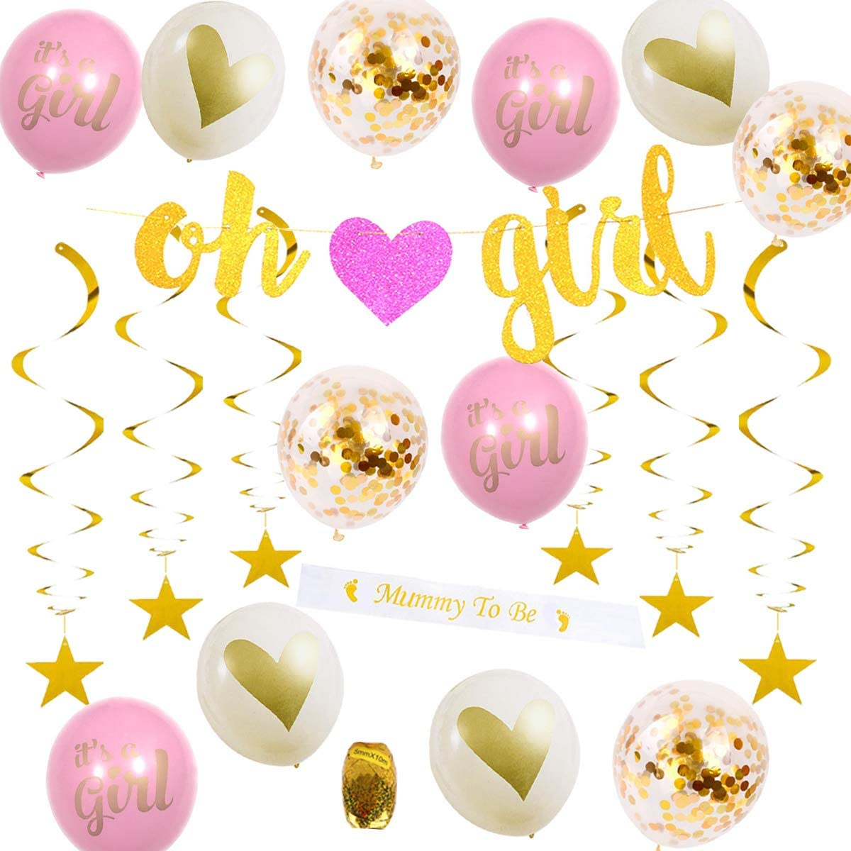 Baby Shower Decorations for Girl-Pink and Gold Baby Reveal Party Supplies-Oh Girl Banner-Gold Stars Swirls-Gold Confetti Balloons-Mommy To Be Body Sash