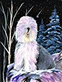 Caroline's Treasures SS8409CHF Starry Night Old English Sheepdog Flag Canvas, Large, Multicolor