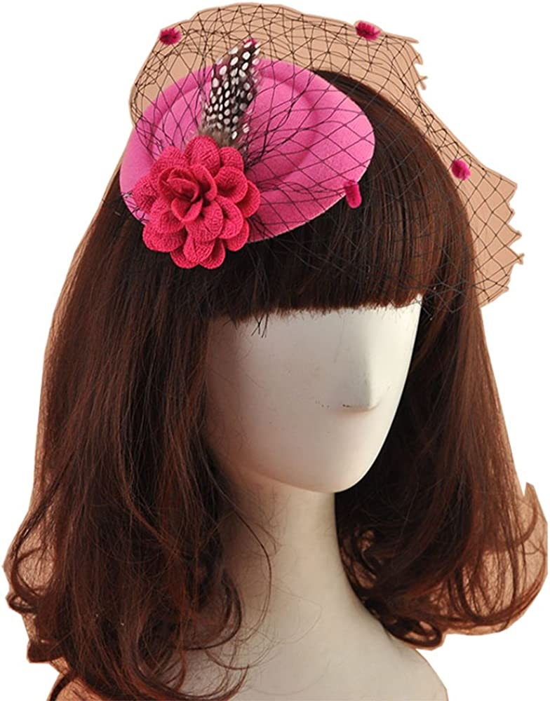 YSJOY Wool Felt Dot Veil Flower Derby Hat Pillbox Hat for Infant Baby Girls