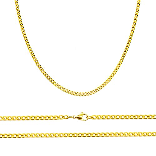 48a557d3bad39 Aplstar Solid Gold Curb Chain Necklace 2mm thick 18ct Real Gold Plated  Size: 16 18 20 22 24 inch/40 46 50 55 60 cm