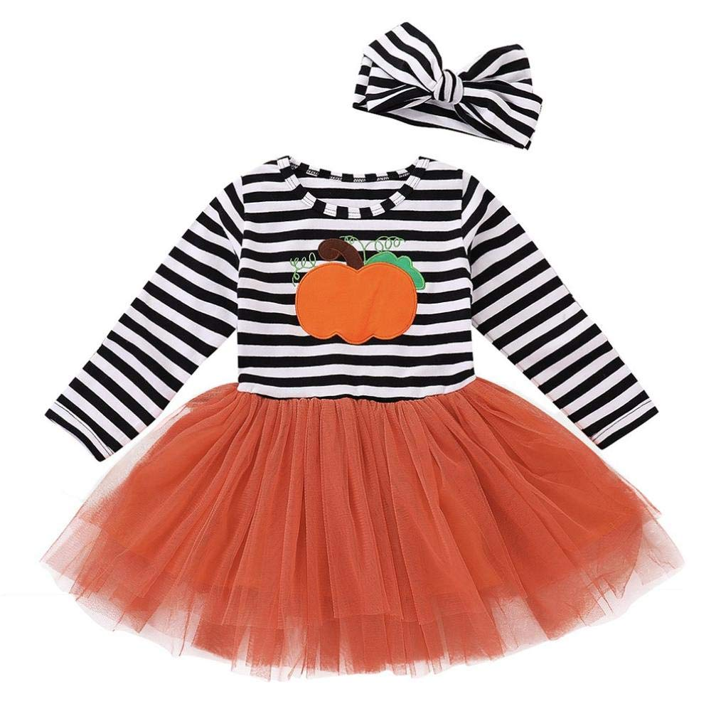Veepola Baby Girls Long Sleeve Halloween Pumpkin Print Stripe Dress + Hair Strap 2 Piece Set