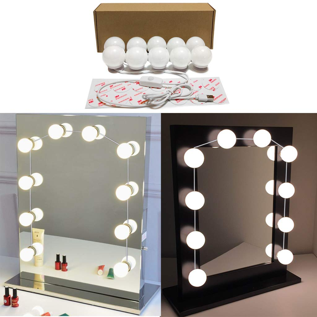 LED Vanity Mirror Lights, Hollywood Style 10 LED Bulbs Kit for Makeup Dressing Table with Push Dimmer and USB Power Supply Plug in, Waterproof DIY LED Lights