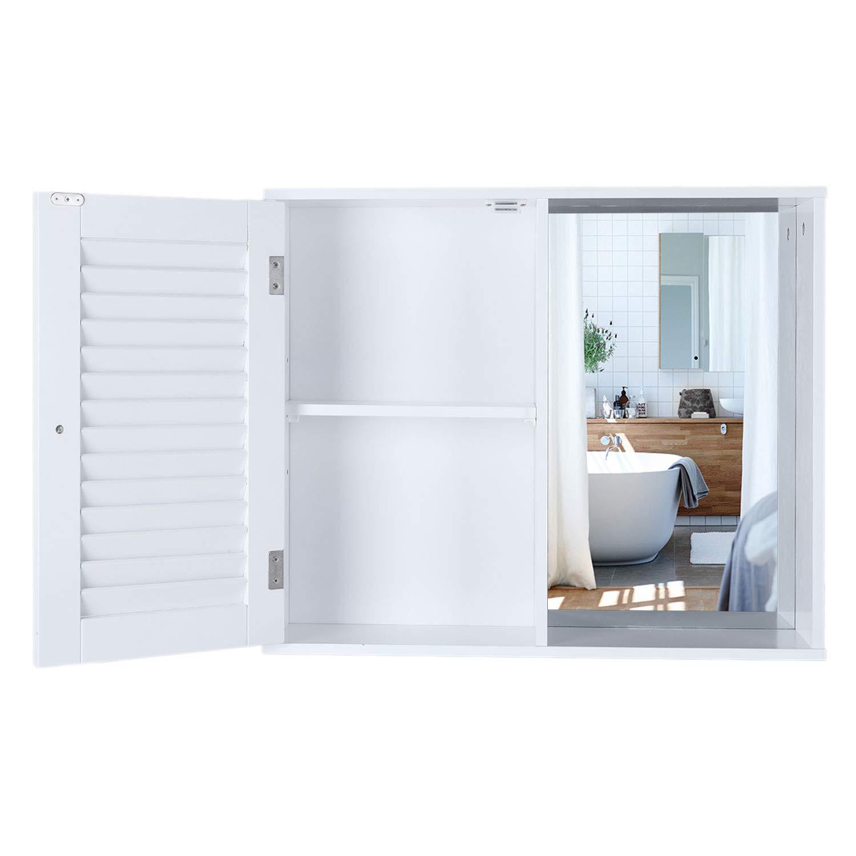 Bianco Homfa cieco Armadietto a Specchio con Anta Singola Mobile Bagno sospeso Pensile Bagno 60 x 14.5 x 49cm