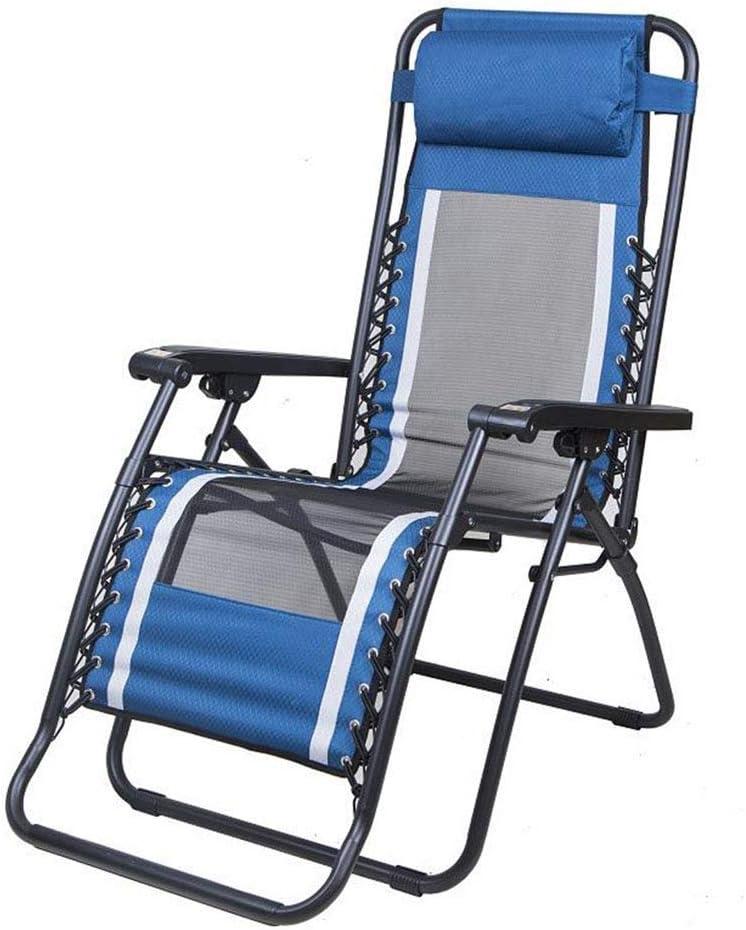 PNYGJZDY Silla reclinable Plegable Tumbona Tumbona de Gravedad Cero Ajustable Sillón de relajación portátil con reposacabezas extraíble Patio Exterior Piscina reclinable