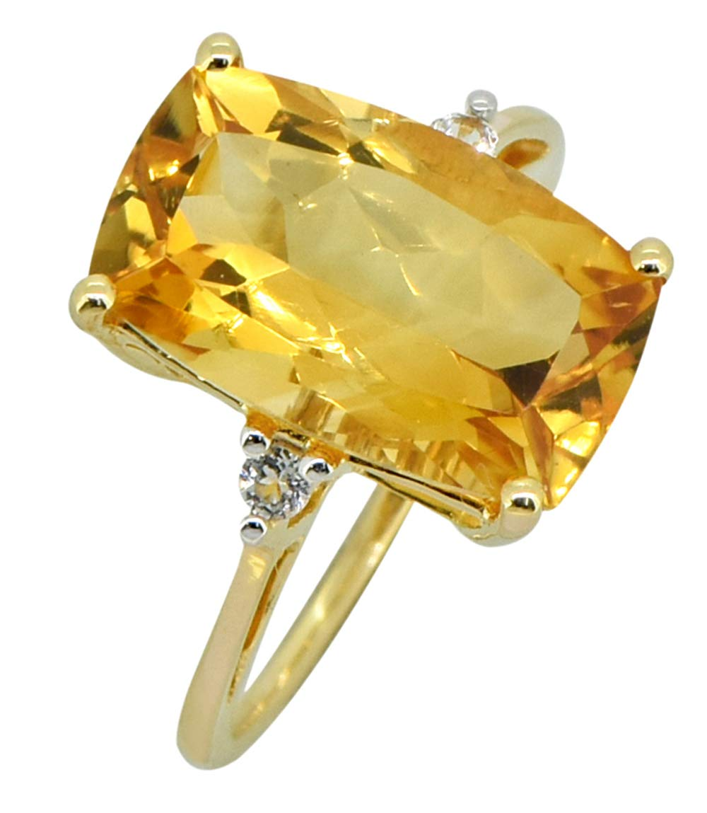 YoTreasure 6.70 Ct Cushion Citrine White Topaz Solid 14K Yellow Gold Ring