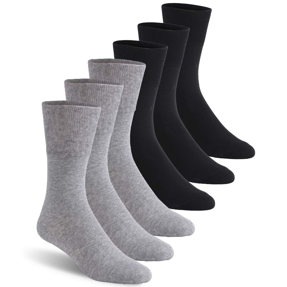 Diabetic Socks, Feelwe Mens Medical Circulation with Non-Binding Top Ankle Crew Socks Cotton Extra-Wide Diabetic Socks with Seamless Toe Socks Crew Socks 6 Pairs Light Grey/Black L by Feelwe