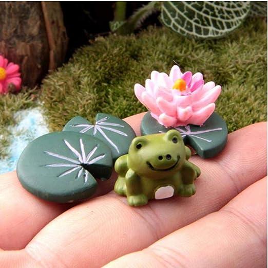 Zonster 3pcs Miniatura Modelo Hada del jardín de la Rana Lotus Micro Paisaje Arte de la Resina de la Carretera pequeños Adornos en Miniatura de jardín: Amazon.es: Hogar