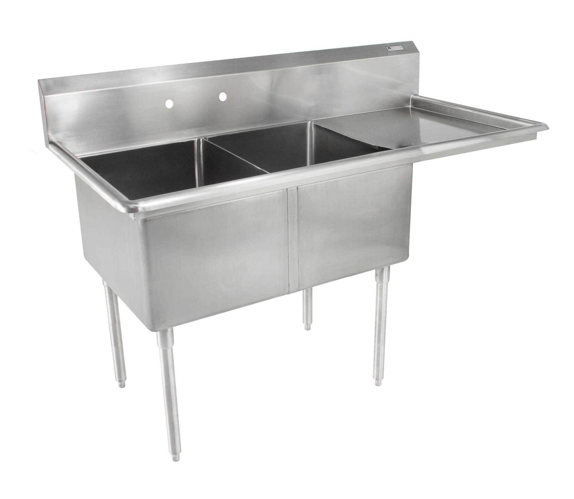 John Boos E Series Stainless Steel Sink, 12'' Deep Bowl, 2 Compartment, 18'' Right Hand Side Drainboard, 52-1/2'' Length x 25-1/2'' Width by John Boos (Image #1)