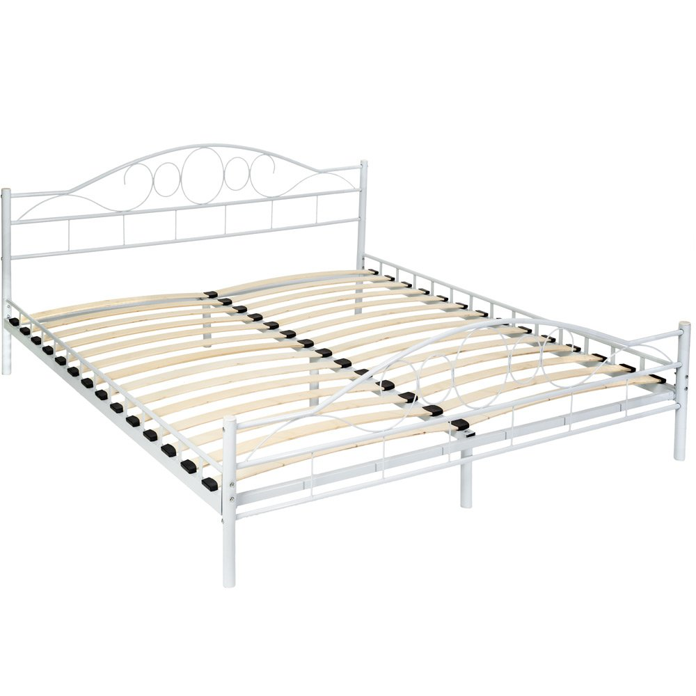 TecTake Double metal bed frame king size modern bedroom + slatted frame - different models - (180x200cm, White) 800218