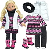 Sophia's Pink Aztec Print Set of 5 Pieces for 18 Inch Dolls Includes Boots