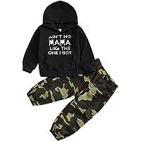 Conjunto de ropa para bebé niño con estampado de letras y sudadera de manga larga con pantalones de camuflaje para…