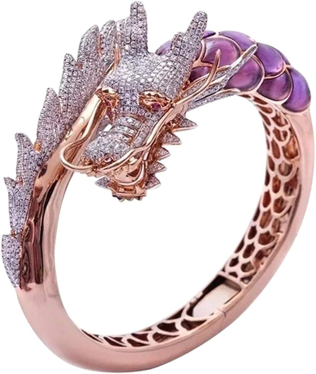 arret Middleton - Anillo de oro rosa de 14 quilates con piedra natural para boda, regalo de cumpleaños, diseño de dragón hip hop, talla 5-10 (Ninguno 5 GD)