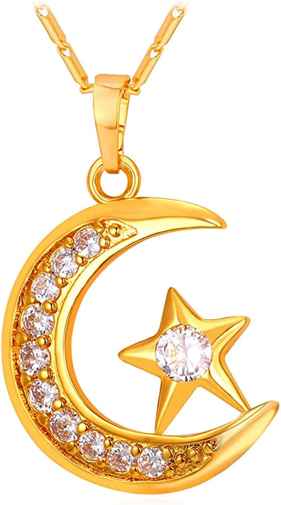 Wide chain links with eye charms moon and stars