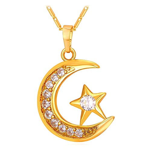 Amazon statement islamic jewelry 18k gold plated i love you to statement islamic jewelry 18k gold plated quoti love you to the moon and backquot aloadofball Image collections