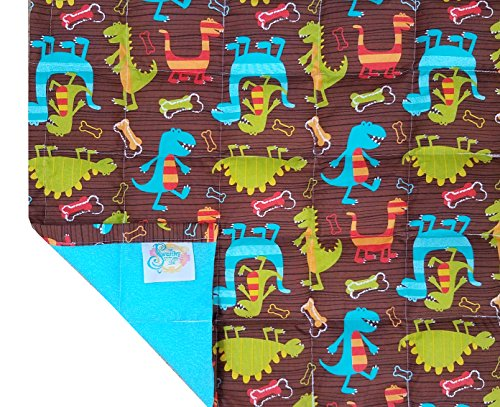 Calming Covers - Medium Weighted Blanket for men, women, adults & kids - 5lb to 6lb (pounds) heavy - Premium therapeutic blanket best for sensory, anxiety, autism & sleep issues (Brown Dinosaurs) by The Swanky Stitchery (Image #6)
