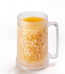 Freezer Mugs – Double Wall Gel Frosty Freezer Mugs, Cups – Drinking Glass – Beer Ice Mugs for Freezer – Beer Mugs with Handle – 16oz Freezable Beer Mug (2)