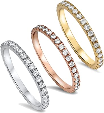Eternity Band Sterling Silver Gold Plated Eternity Band Sterling Silver and Gold Plated Band