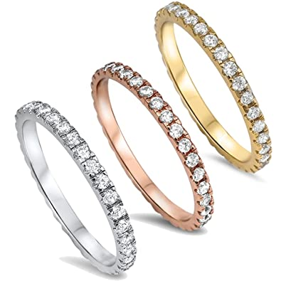 STACKABLE CZ Eternity Style Wedding Band YELLOW GOLD PLATED .925 Sterling Silver