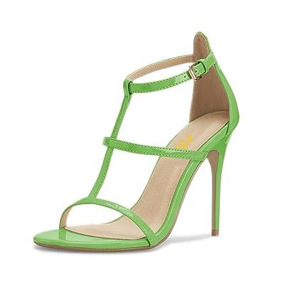 33e78658026d FSJ Women Fashion Evening Dancing Sandals Strappy Open Toe High Heel  Stiletto Shoes Size 4 Green