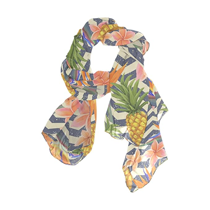 244139bb1c3c7 Image Unavailable. Image not available for. Color: WellLee Tropical Exotic  Flowers Pineapples Shawl Wrap Sheer Scarves Custom Oblong Chiffon Scarf ...