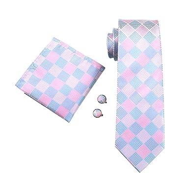RXBGPZLD Caballero Corbata Rosa A Cuadros De Seda Jacquard Tie ...
