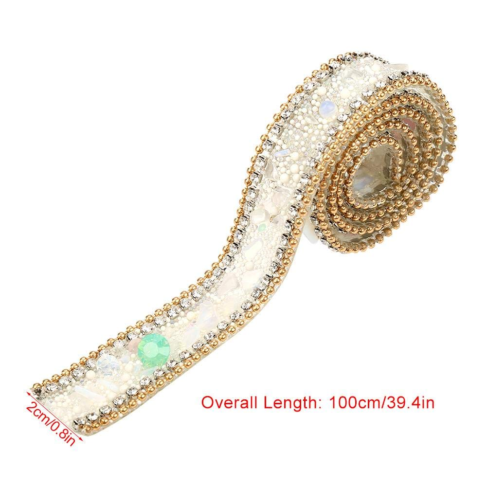 Rouleau de ruban strass #01 largeur de longueur 39.4inch 0.8inch ruban de strass /étincelle petit rouleau de diamant denveloppe incrust/é de gravier de jade pour g/âteaux de mariage