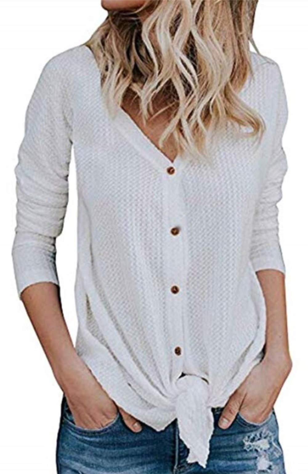 elescat Womens Sweaters Knited Cardigan Long Sleeve Tops Knot Henley Shirts V Neck Blouses (M,White)