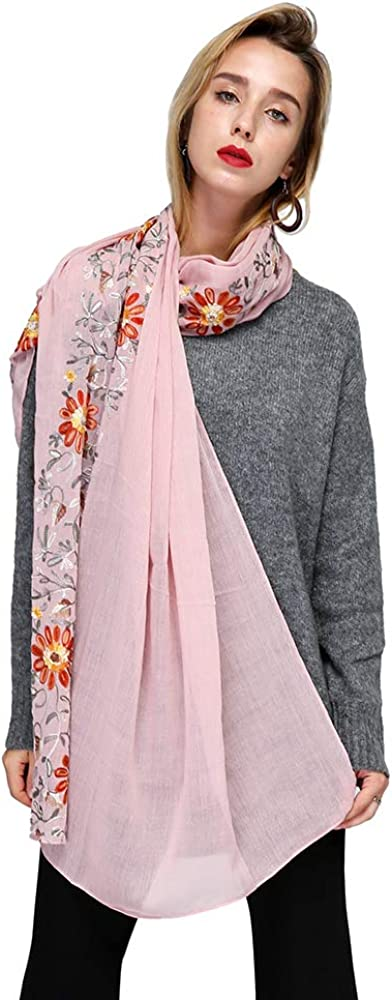 Lightweight Embroidery Scarf Women Silk Like Shawl Wraps for Spring Autumn Multiple Colors