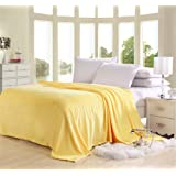 Solid Flannel Plush Throw Blankets, Bed Blanket Twin Full Queen Size (Full, Yellow)