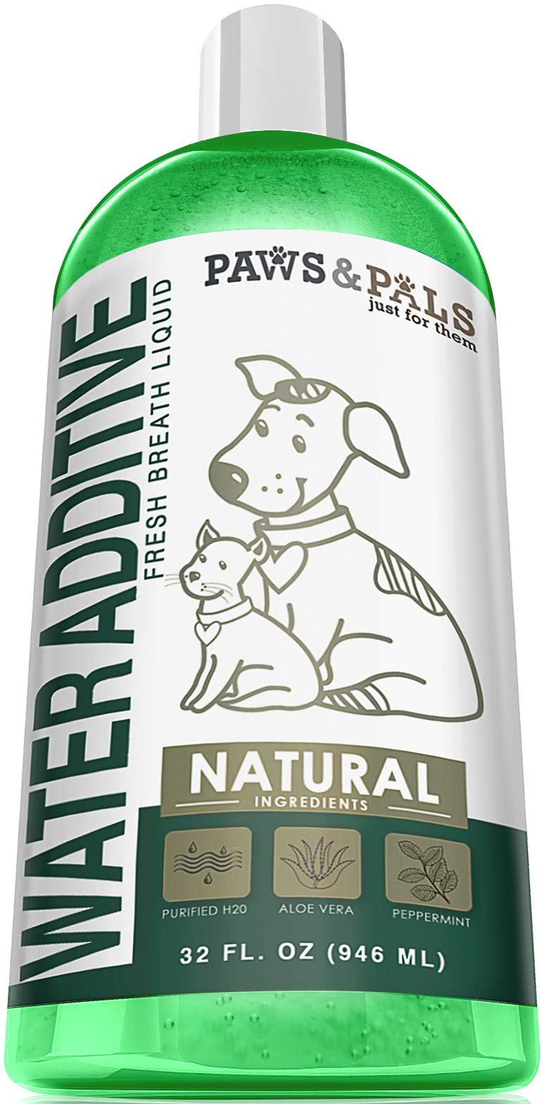 Dog Breath Freshener Water Additive - Dental Care Bad Breath Treatment for Dogs & Cats 32-oz Mouthwash Best for Pet Oral Fresh Teeth Cleaner Freshner Cleaning Plaque Tartar Mouth Wash Liquid Remover by Paws & Pals