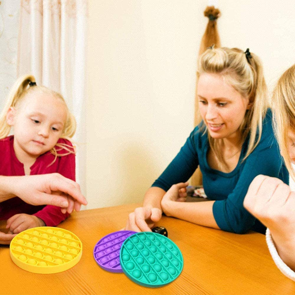 DENBOS( Pack of 6 Round  Pop pop Bubble Sensory Fidget Toy,Autism Special Needs Stress Reliever Silicone Stress Reliever Toy,Squeeze Sensory Toy