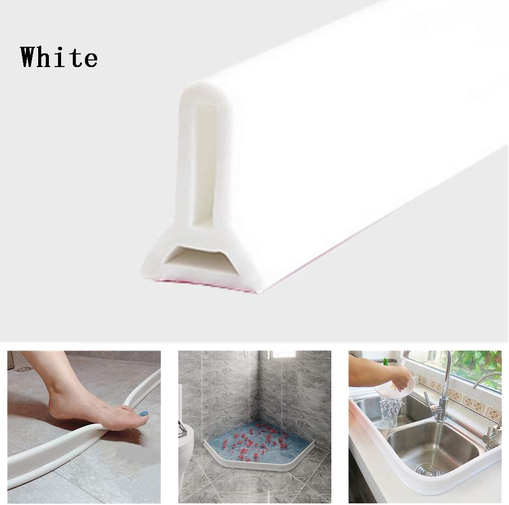 Tira impermeable de silicona flexible, umbral de ducha, tapón de agua de presa de agua, sello de piso del baño, parada de flujo de agua para separación húmeda y seca (150cm,Blanco): Amazon.es: