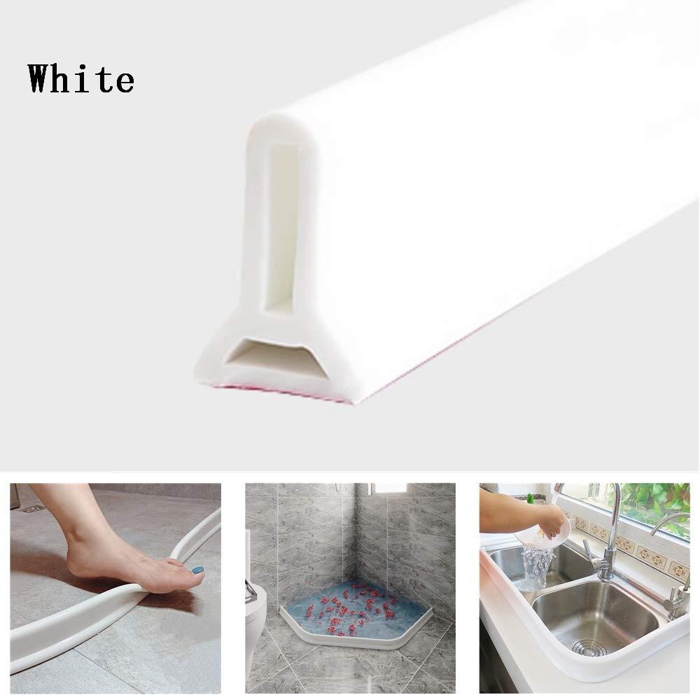 Shower Threshold Water Dam Water Stopper,Bathroom Water Strip,Dry and Wet Separation Strip,Bathroom Floor Seal Water Flow Stop 50cm,White Silicone Bendable Waterproof Strip