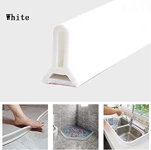 Tira impermeable de silicona flexible, umbral de ducha, tapón de agua de presa de agua, sello de piso del baño, parada de flujo de agua para separación húmeda y seca (50cm,Blanco): Amazon.es: