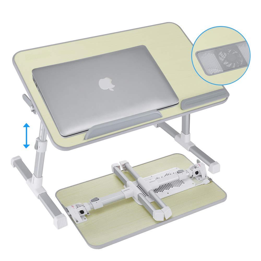 GBTIGER Tavolino da Letto PC, Base di Raffreddamento/Appoggio per PC Portatile, Supporti Estensibili per Notebook e Angolo Regolabile Gambe Antiscivolo