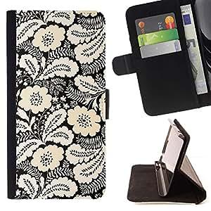 For Samsung Galaxy S5 V SM-G900 Case , Amarillo Blanco Negro Vintage Wallpaper- la tarjeta de Crédito Slots PU Funda de cuero Monedero caso cubierta de piel