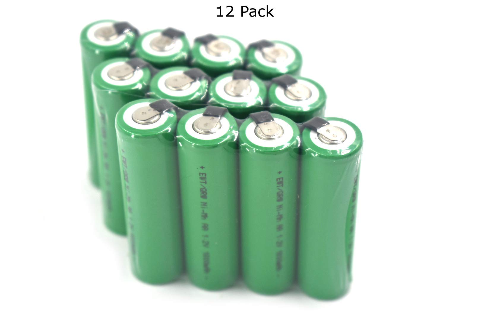 Contractor Pack - 12 Pcs - Nimh 1.2V AA 1800 mAh Flat top Battery with Solder Tabs for Cordless Shavers, Flossers and Battery Packs