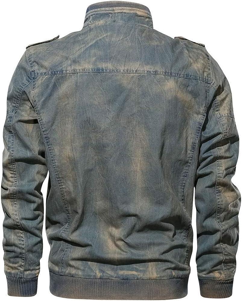 HNOSD Chaqueta de Mezclilla para Hombre Tama/ño Grande 6XL Chaqueta de Jeans t/áctica Militar Chaqueta de piloto de la Fuerza a/érea Casual s/ólida
