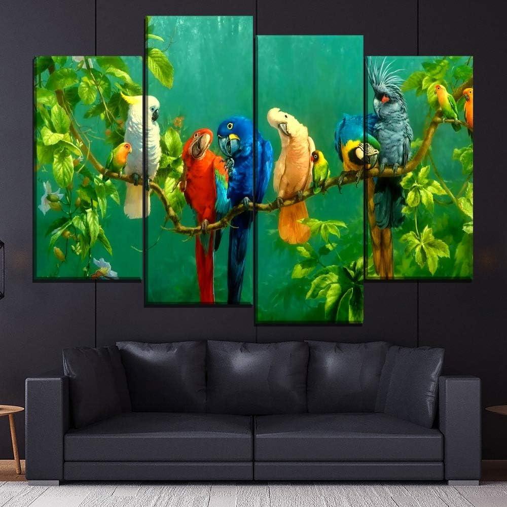 sans Cadre Tableau Neyouyou Impression sur Toile 100X160cm -Perroquet,100X160cm 4 Parties Motif Moderne Images Image sur Toile D/écoration - Photo