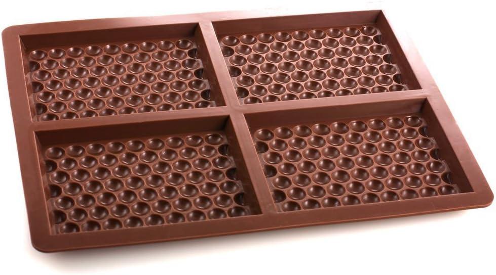 4 cell papel de burbujas efecto/de silicona molde de tableta de Chocolate de metal