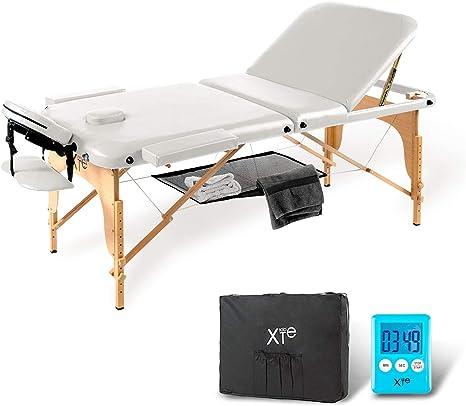 Camilla de masaje 3 zonas madera portátil con red y temporizador ...