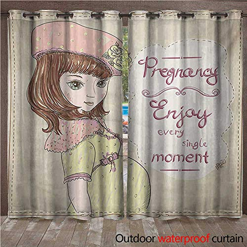 WilliamsDecor Quotes Outdoor Ultraviolet Protective Curtains Pregnancy Enjoy Every Single Moment Clipart Pregnant Woman Dress Hat W72 x L108(183cm x 274cm)