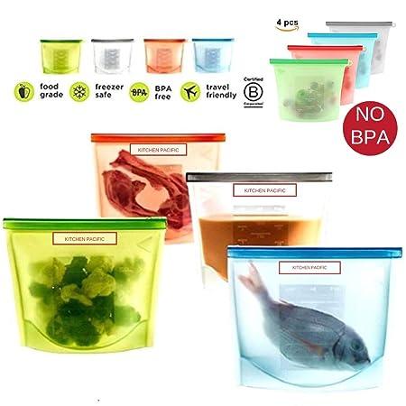 Kitchen Pacific - Bolsas reutilizables de silicona para ...