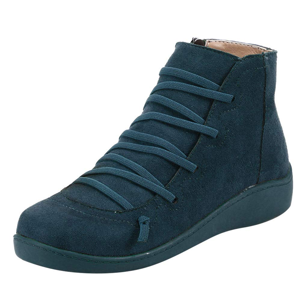 Women's Arch Support Boots- Casual Flat Short Ankle Boots Winter Retro Leather Flock Lace-up Side Zipper Shoes Boots Booties (US:8, Blue) by Aritone - Women Shoes