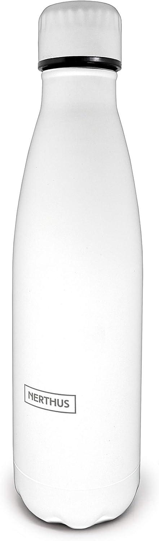 Nerthus Botella FIE 130 Termo Doble Pared Vintage de Acero Inoxidable Color Blanco 500 ml Libre de BPA, 18/8, 0 cm